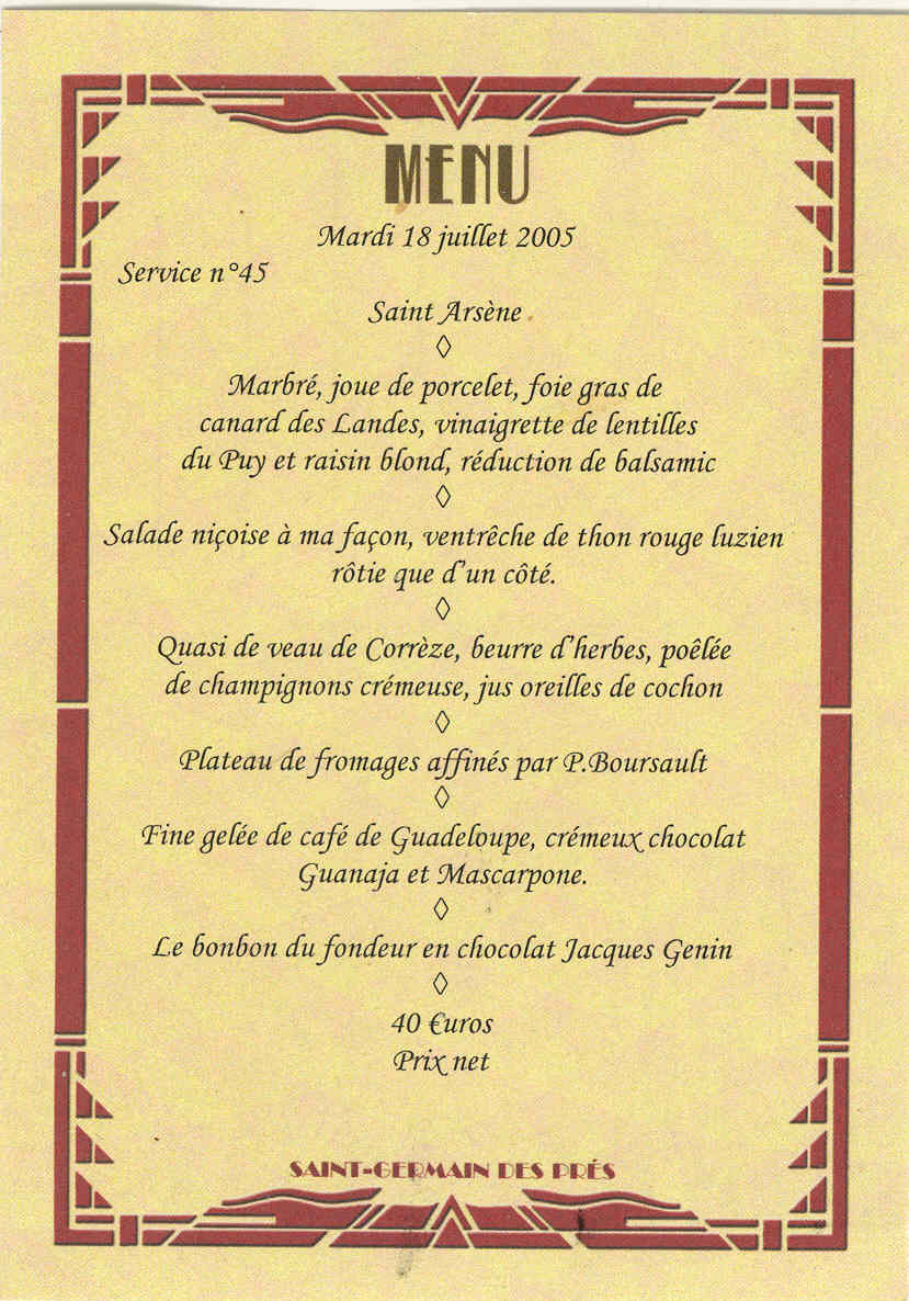 Whitings writings paris bistros le comptoir du relais - Le comptoir du relais menu ...